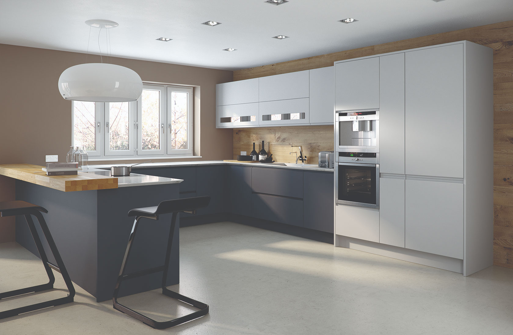 handleless fitted kitchen